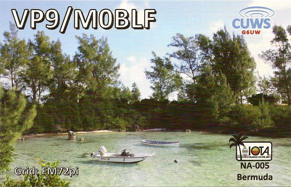 QSL showing the Bermuda shoreline