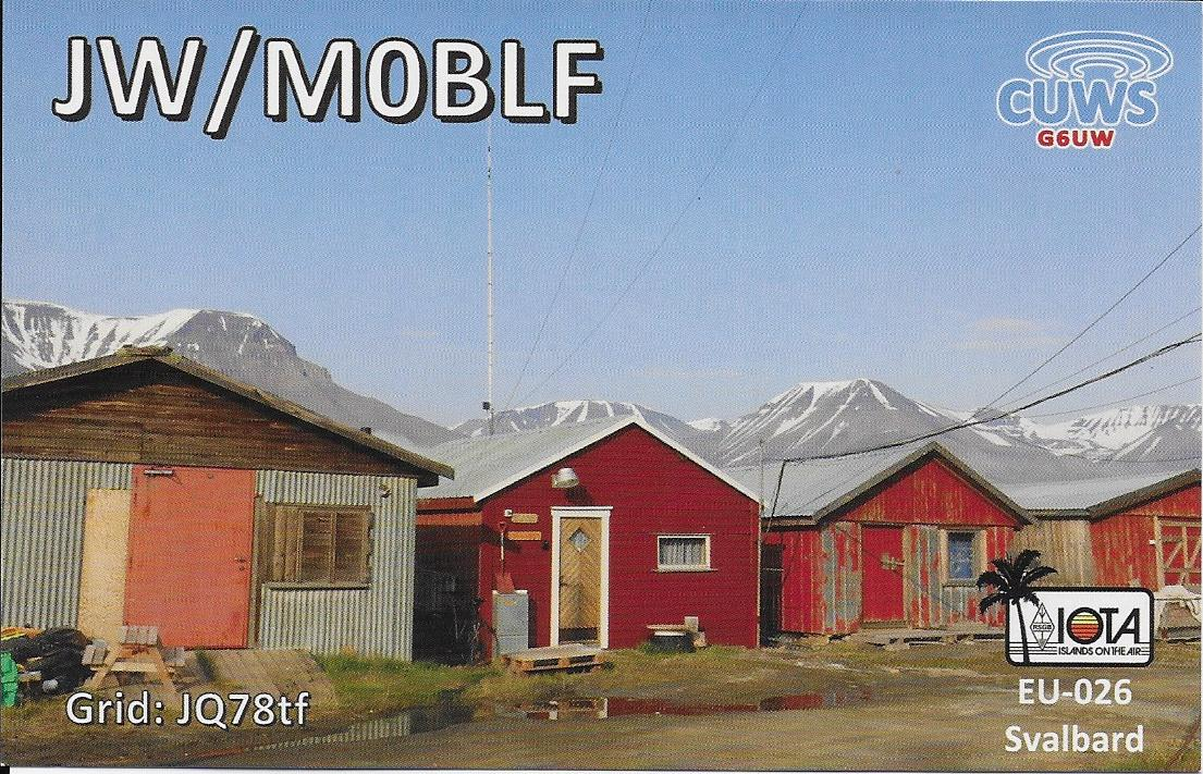 QSL showing our QTH on Svalbard