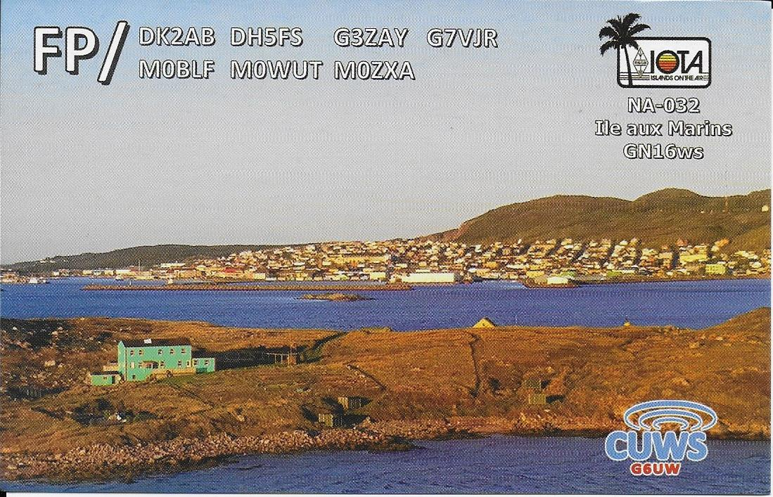 QSL showing our QTH on Ile aux Marins
