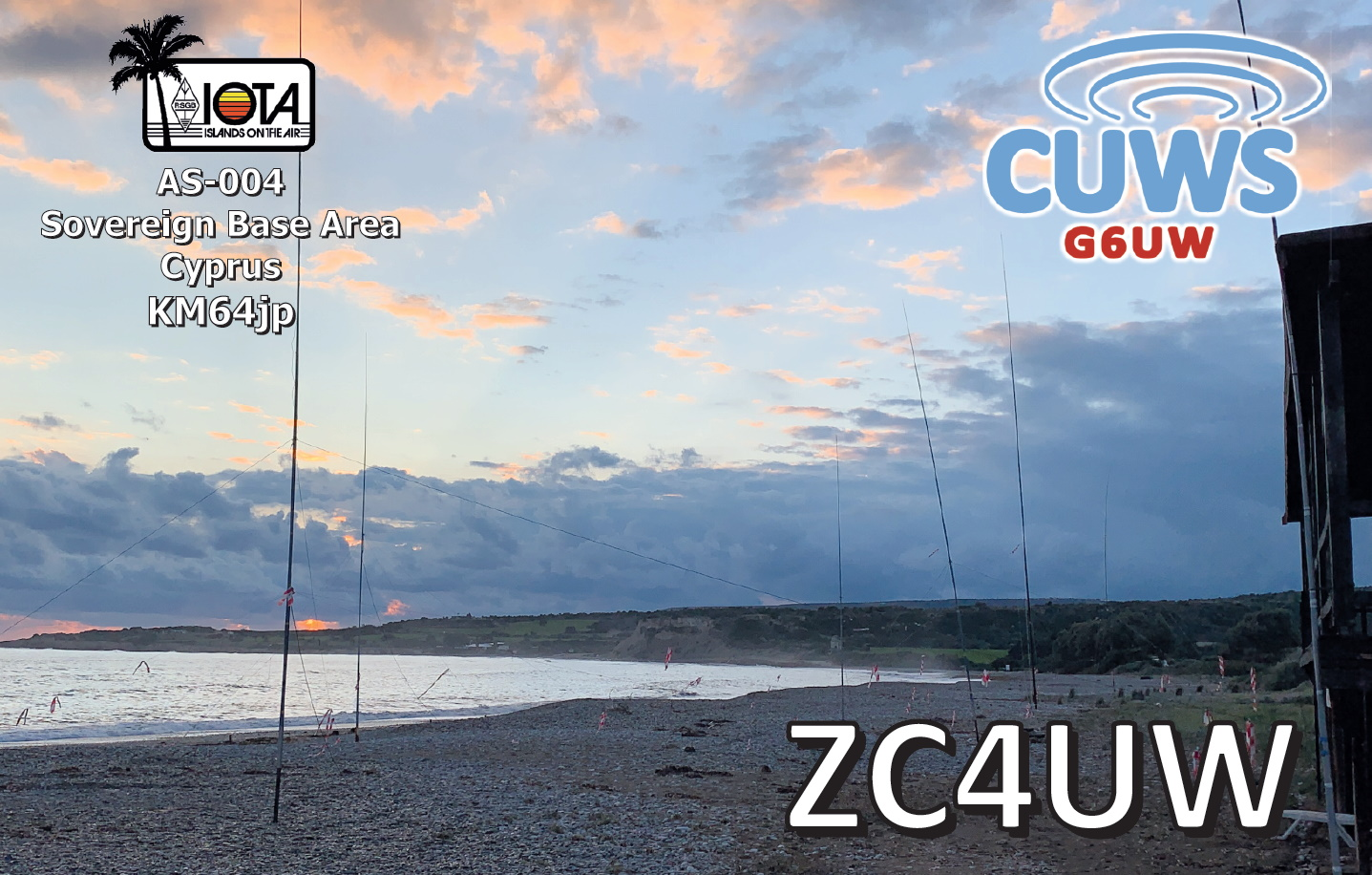 QSL showing our antennas on the beach