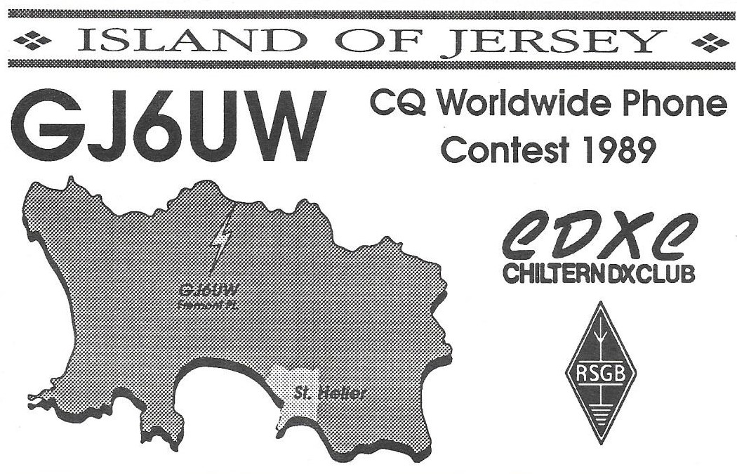 QSL card for IOTA Contest from Jersey, 1989